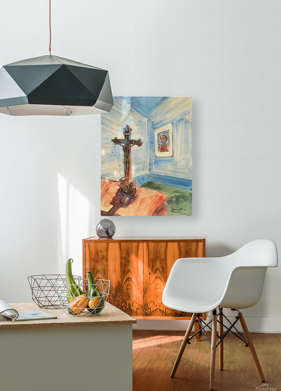Crucifix in the room by Walter Gramatte  HD Metal print with Floating Frame on Back