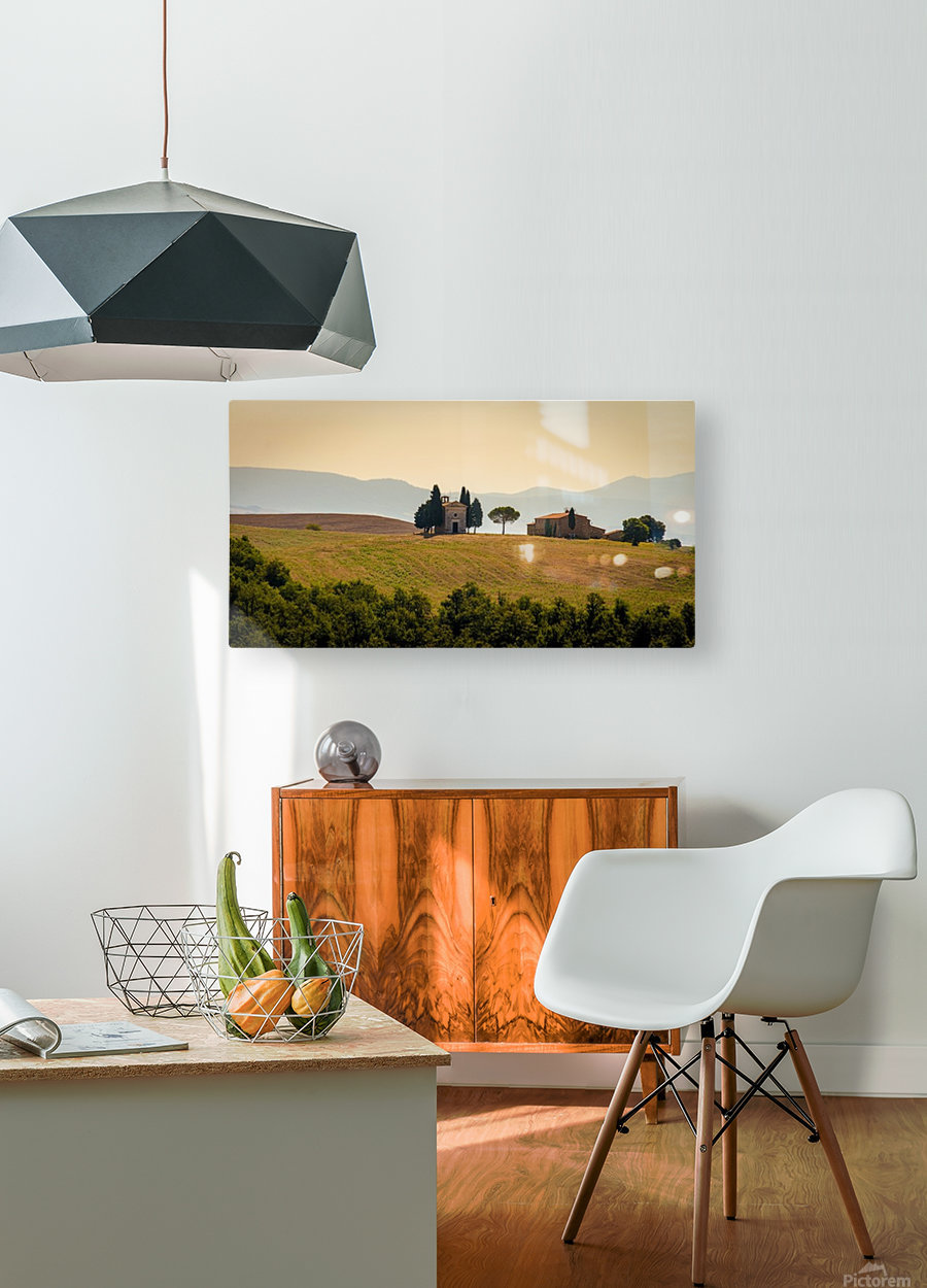 small church in tuscany  HD Metal print with Floating Frame on Back