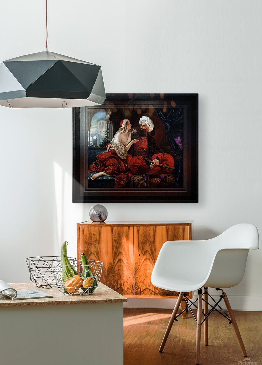 Ali Pasha and Kira Vassiliki by Paul Emil Jacobs Classical Fine Art Xzendor7 Old Masters Reproductions  HD Metal print with Floating Frame on Back