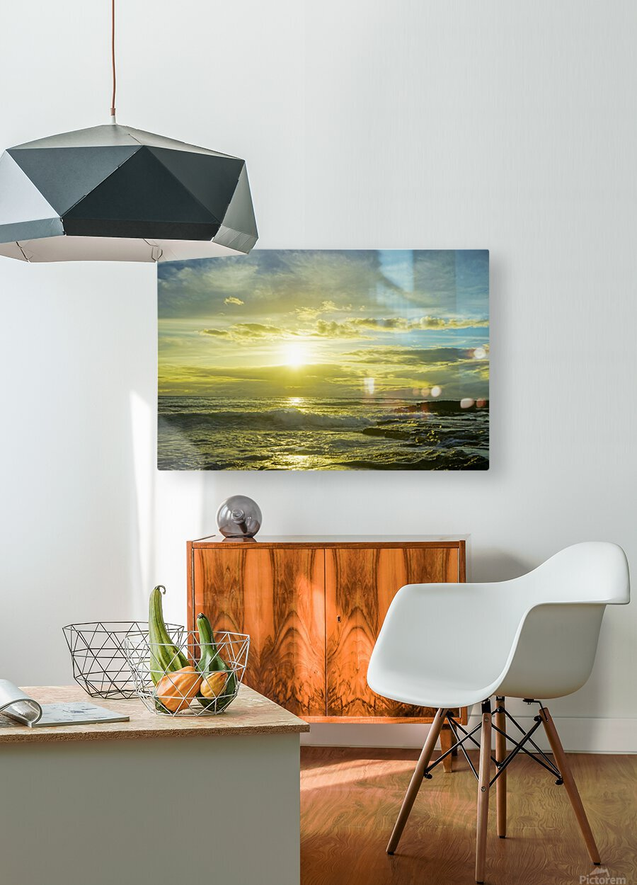 The Sun Sets at the Tidal Pools Hawaii  HD Metal print with Floating Frame on Back