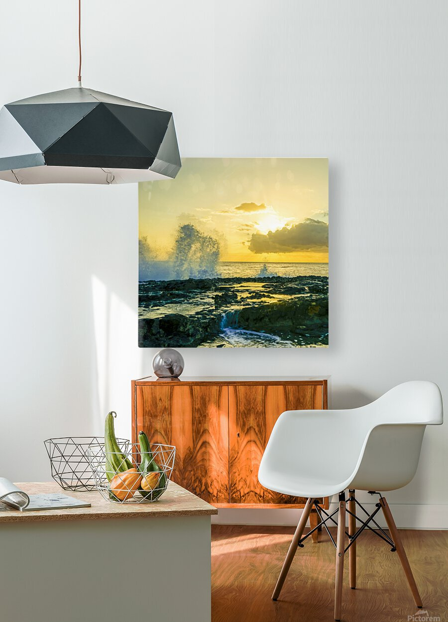 Waves Swirl at the Seaside Hawaii - Square  HD Metal print with Floating Frame on Back