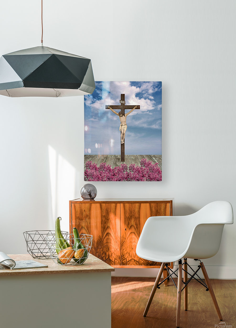 Jesus on the Cross Illustration  HD Metal print with Floating Frame on Back