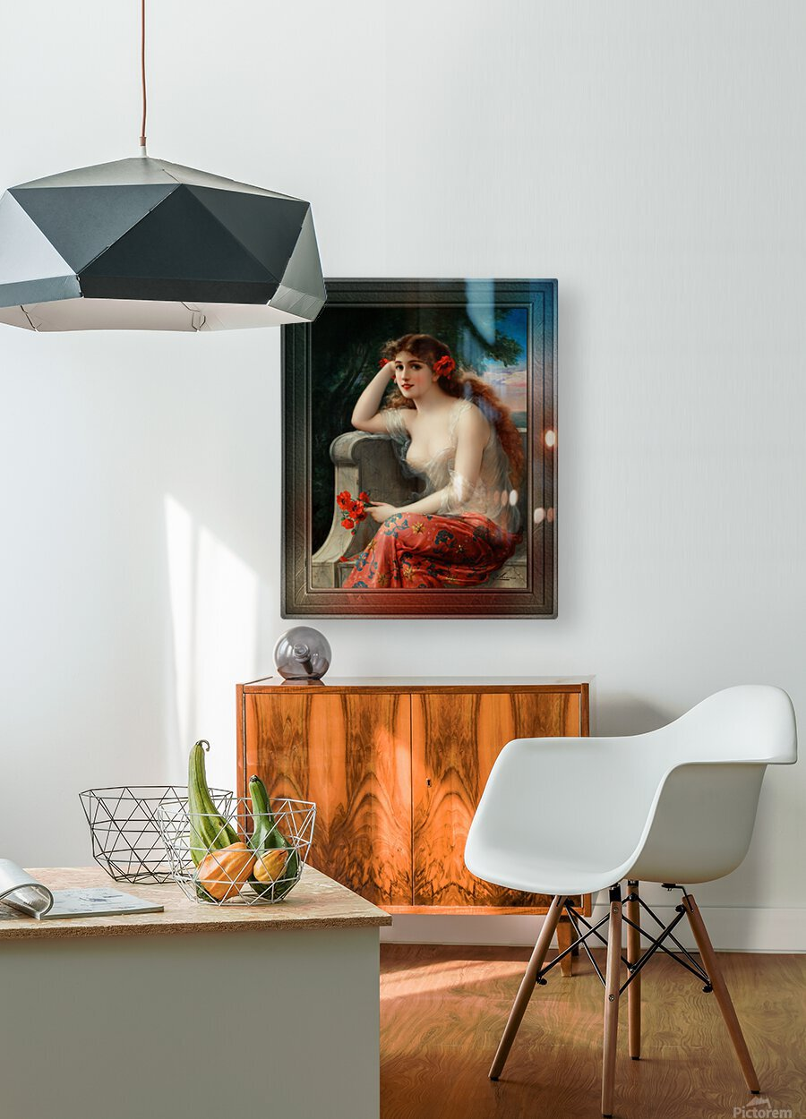 Girl with a Poppy byEmile Vernon Wall Decor Xzendor7 Old Masters Art Reproductions  HD Metal print with Floating Frame on Back
