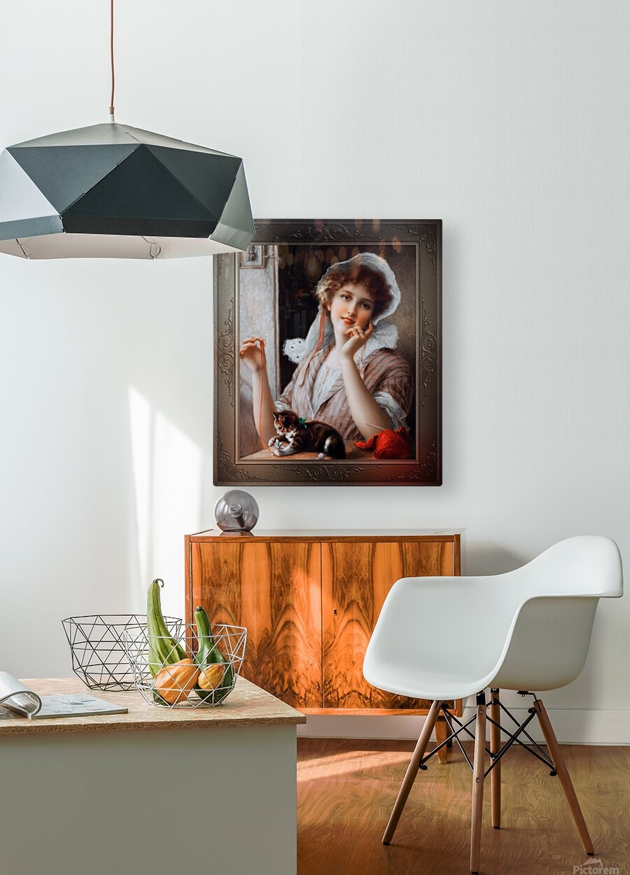 At Play byEmile Vernon Vintage Fine Art Xzendor7 Old Masters Reproductions  HD Metal print with Floating Frame on Back