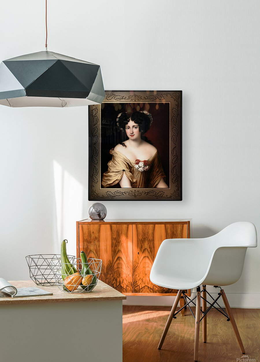 Portrait of Contessa Ortensia Ianna Stella by Jacob Ferdinand Voet Classical Fine Art Xzendor7 Old Masters Reproductions  HD Metal print with Floating Frame on Back