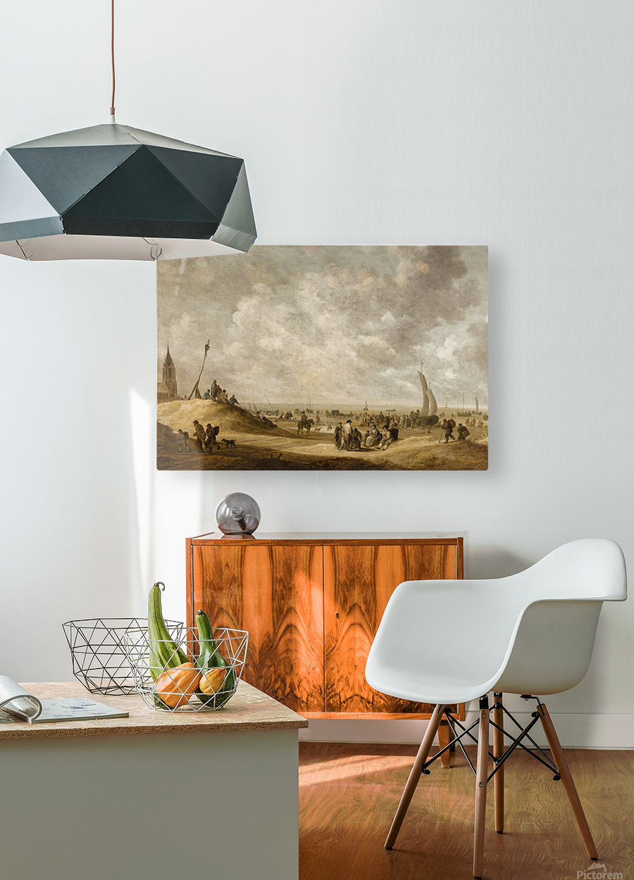 On the Beach at Scheveningen  HD Metal print with Floating Frame on Back