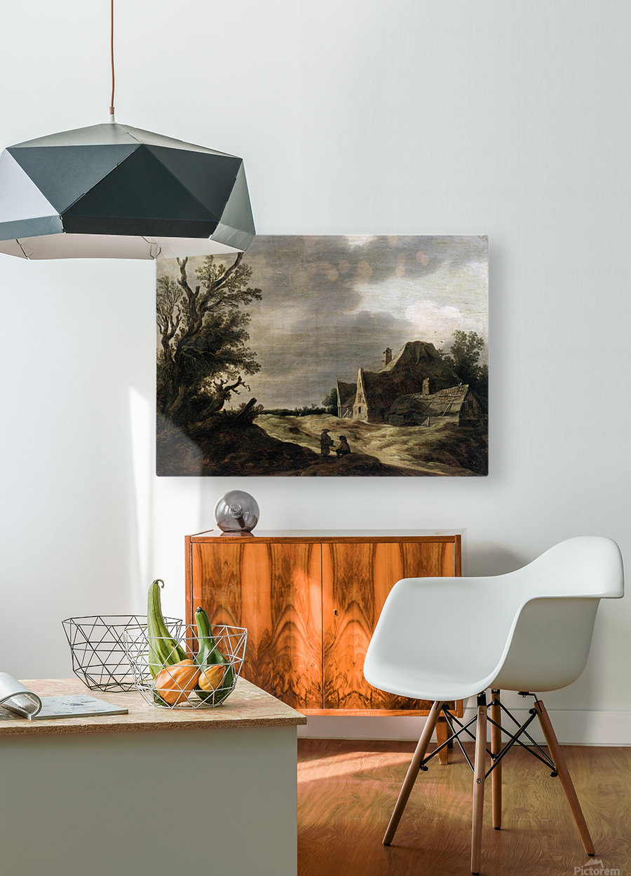 Sandy road with a farmhouse  HD Metal print with Floating Frame on Back