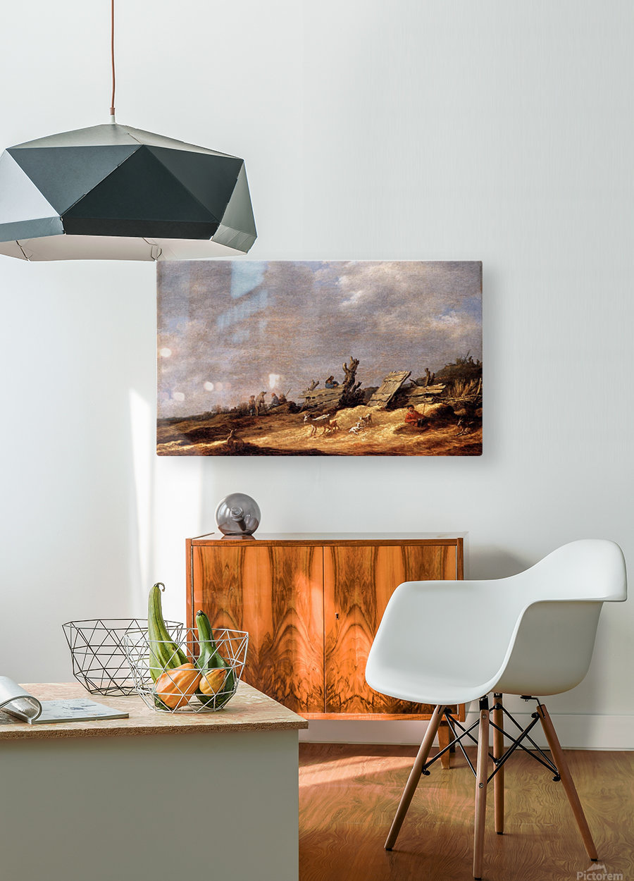 Dune Landscape with animals  HD Metal print with Floating Frame on Back