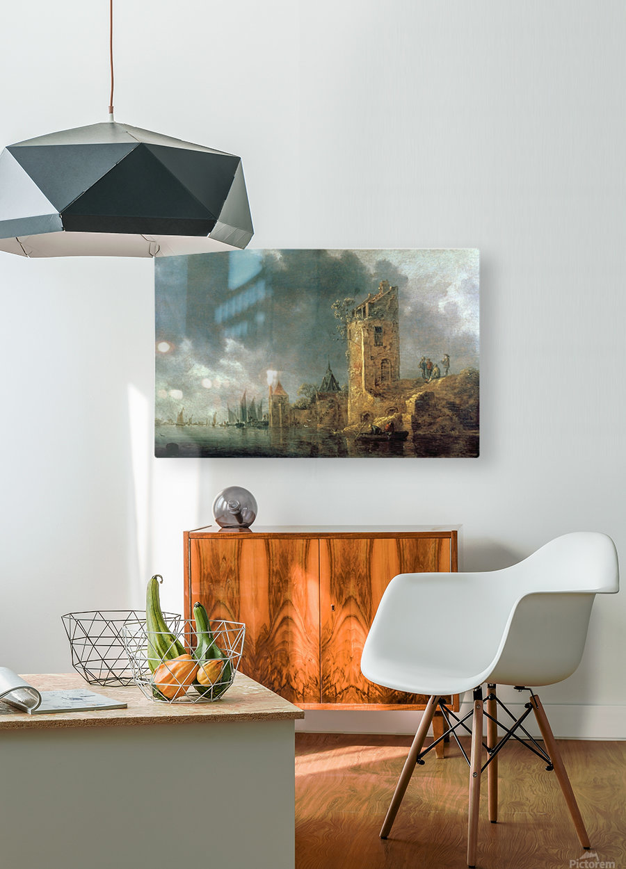 River Scene with Ruined Tower  HD Metal print with Floating Frame on Back
