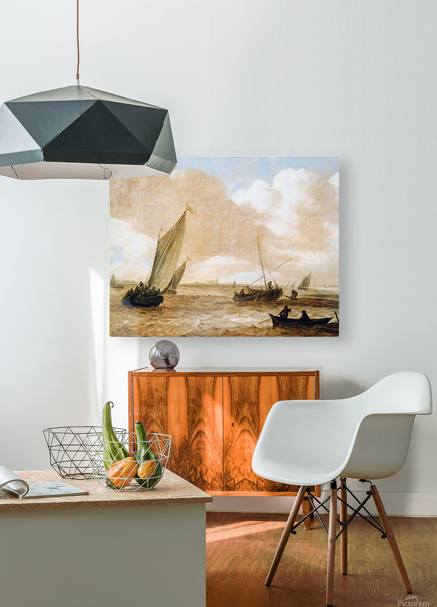 Riverscape Sun  HD Metal print with Floating Frame on Back