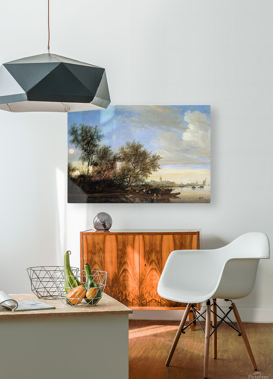 River landscape with ferry Sun  HD Metal print with Floating Frame on Back