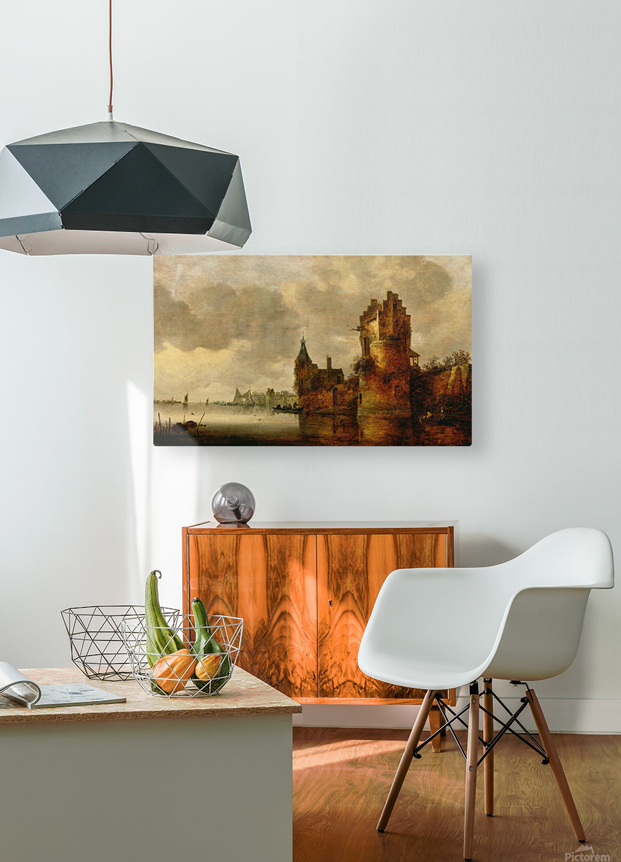 Estuary with Round Tower  HD Metal print with Floating Frame on Back