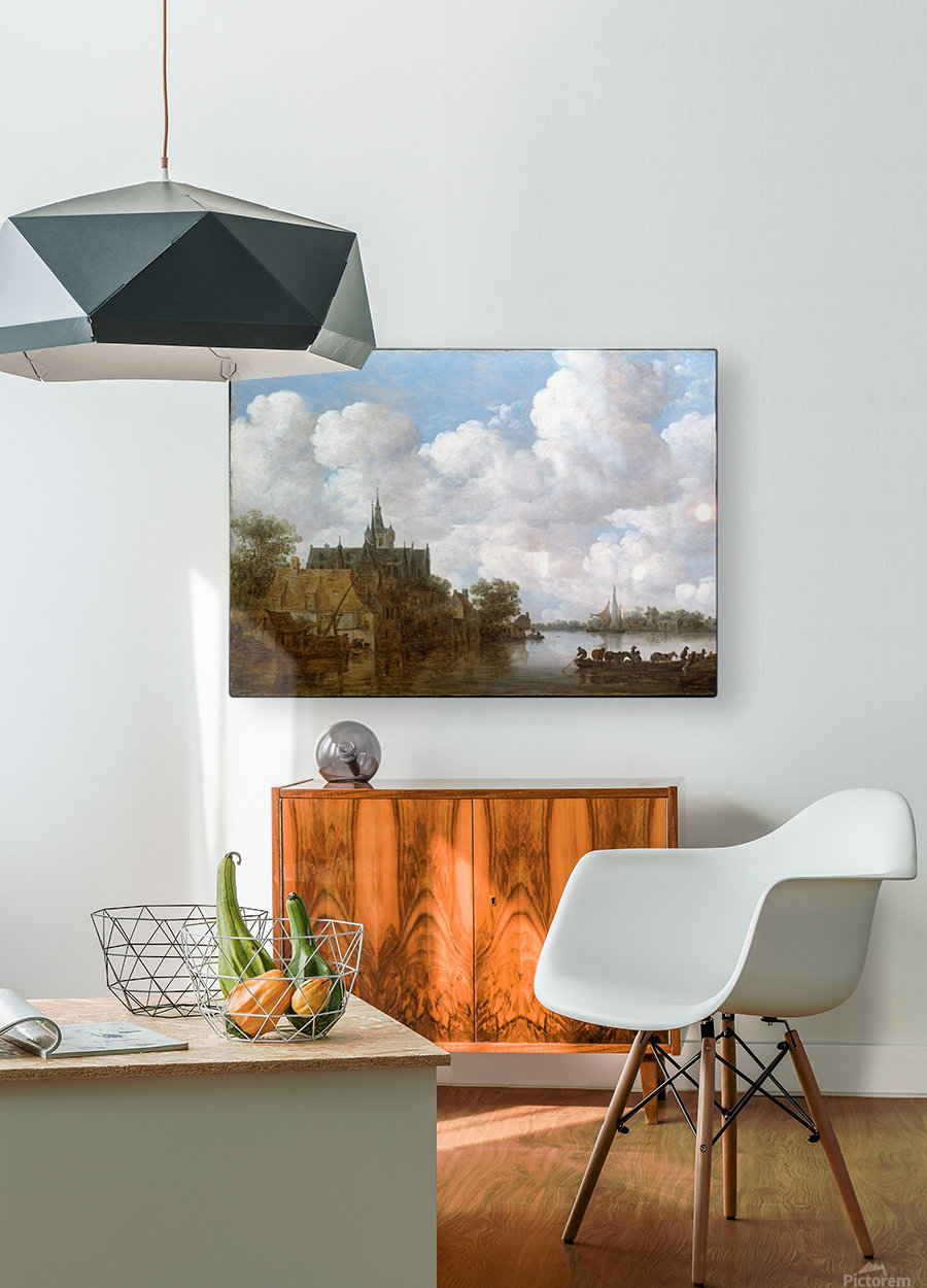 Landscape with a Ferry and a Church  HD Metal print with Floating Frame on Back
