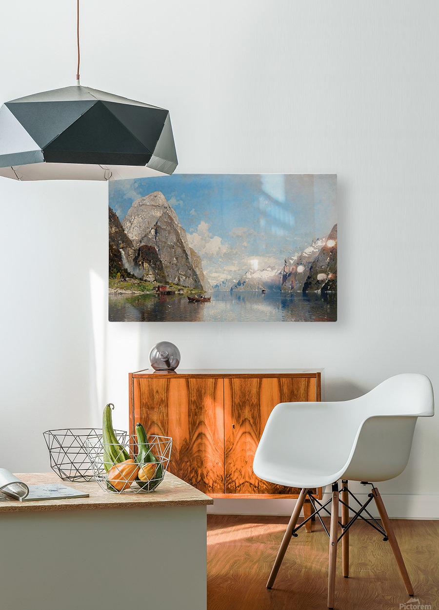 View of a Fjord  HD Metal print with Floating Frame on Back