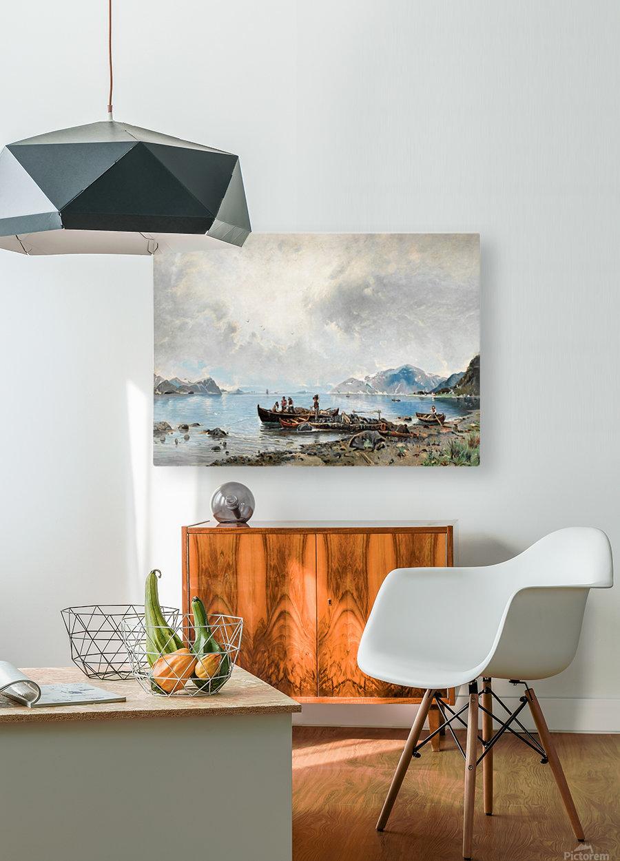 Lastning vid stranden  HD Metal print with Floating Frame on Back