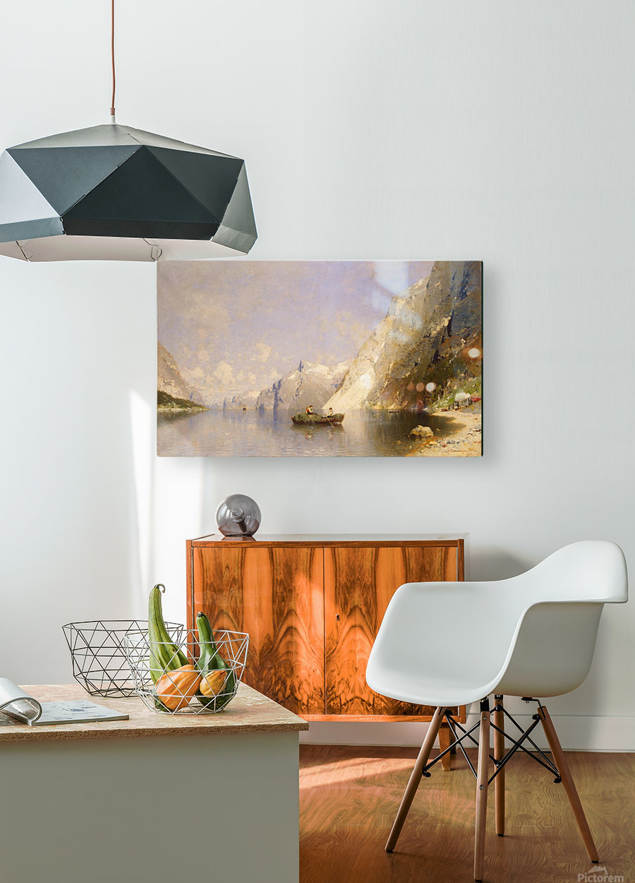 Fiord in Norway  HD Metal print with Floating Frame on Back