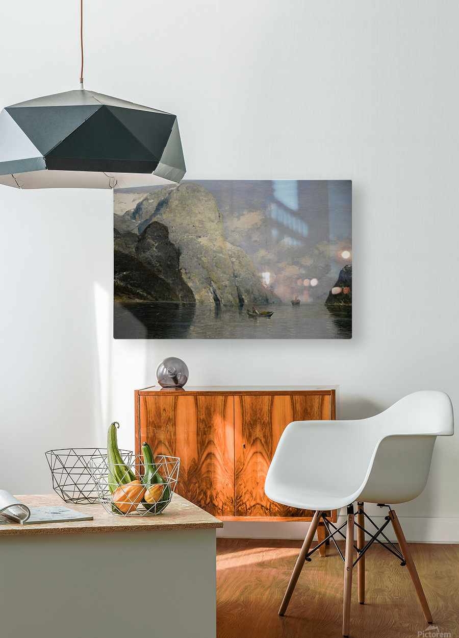 Blue Skies at Fjord  HD Metal print with Floating Frame on Back