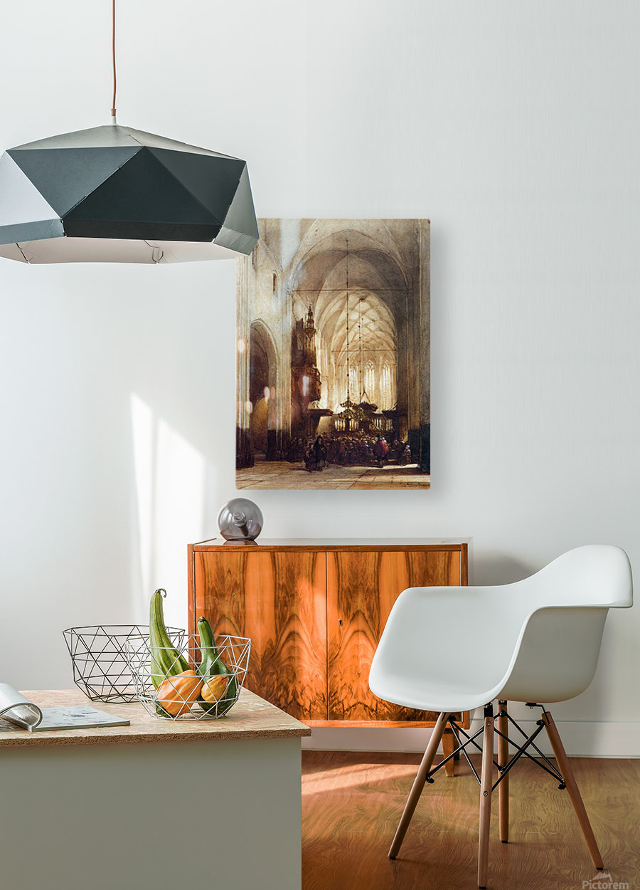 Church In Hattem Sun  HD Metal print with Floating Frame on Back