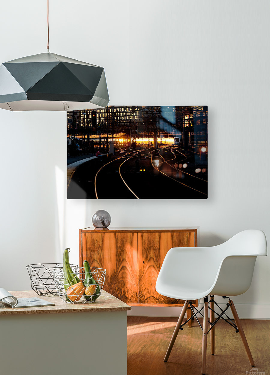 Golden train  HD Metal print with Floating Frame on Back