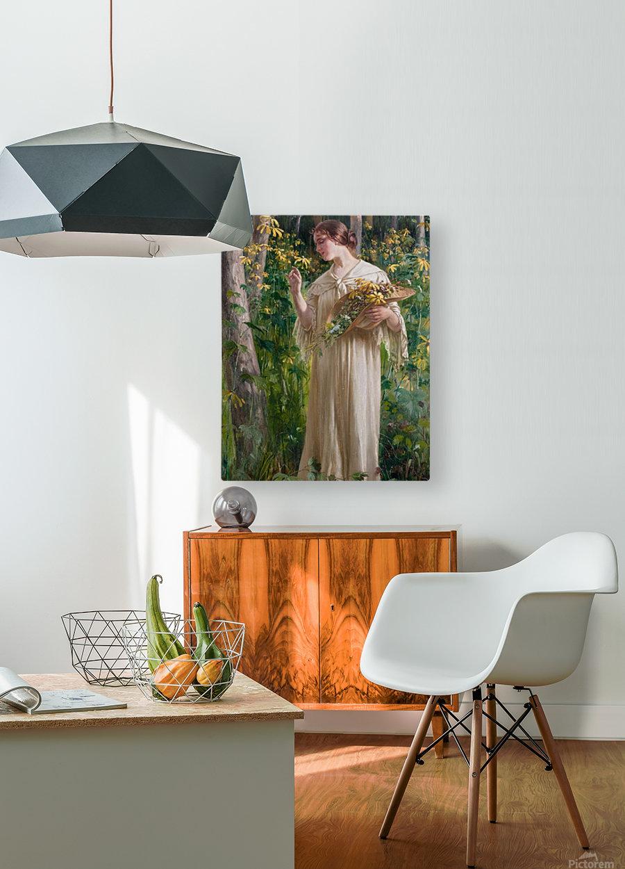 Lady in forest  Impression métal HD avec cadre flottant sur le dos