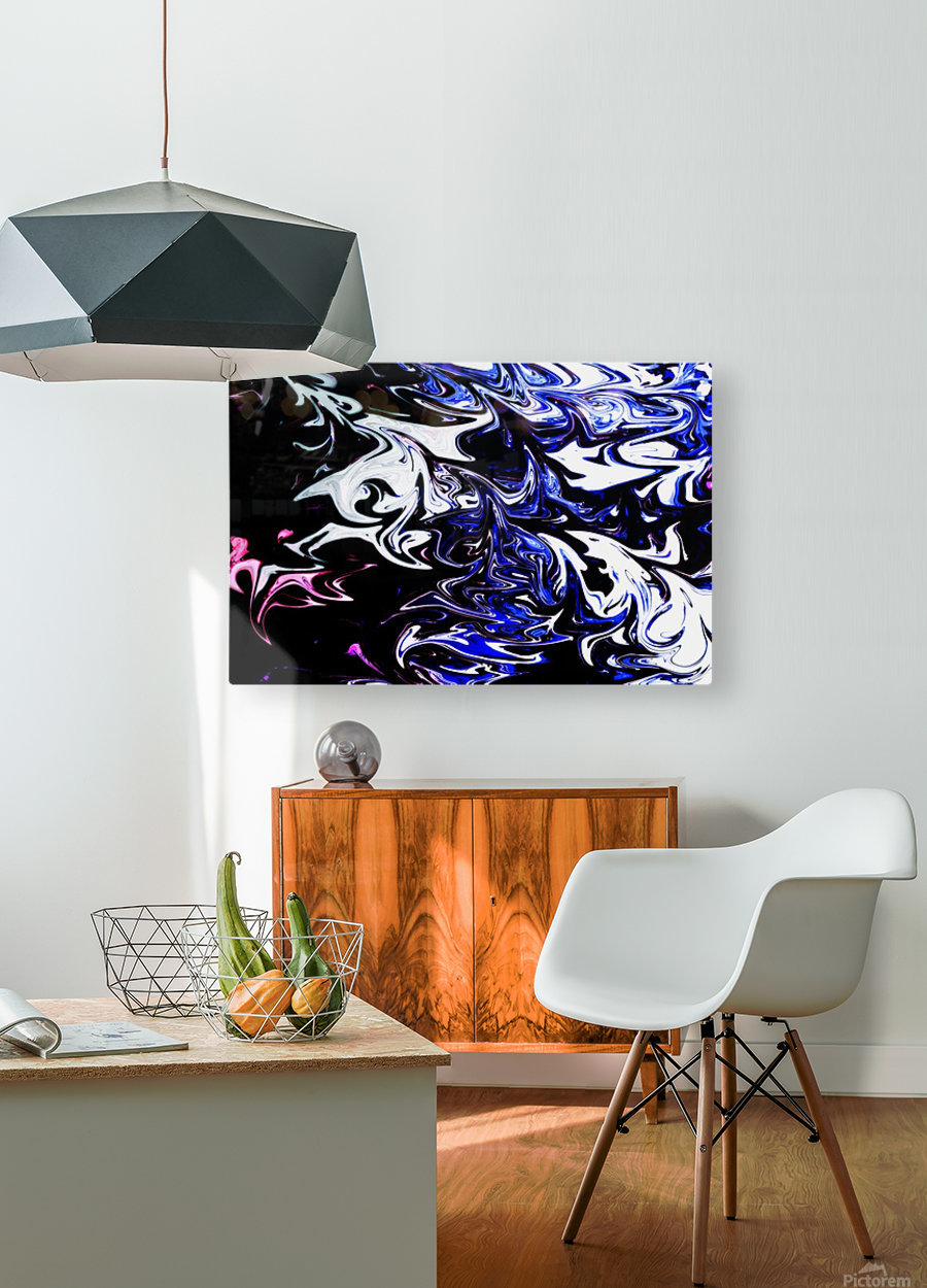Liquid Blue  HD Metal print with Floating Frame on Back