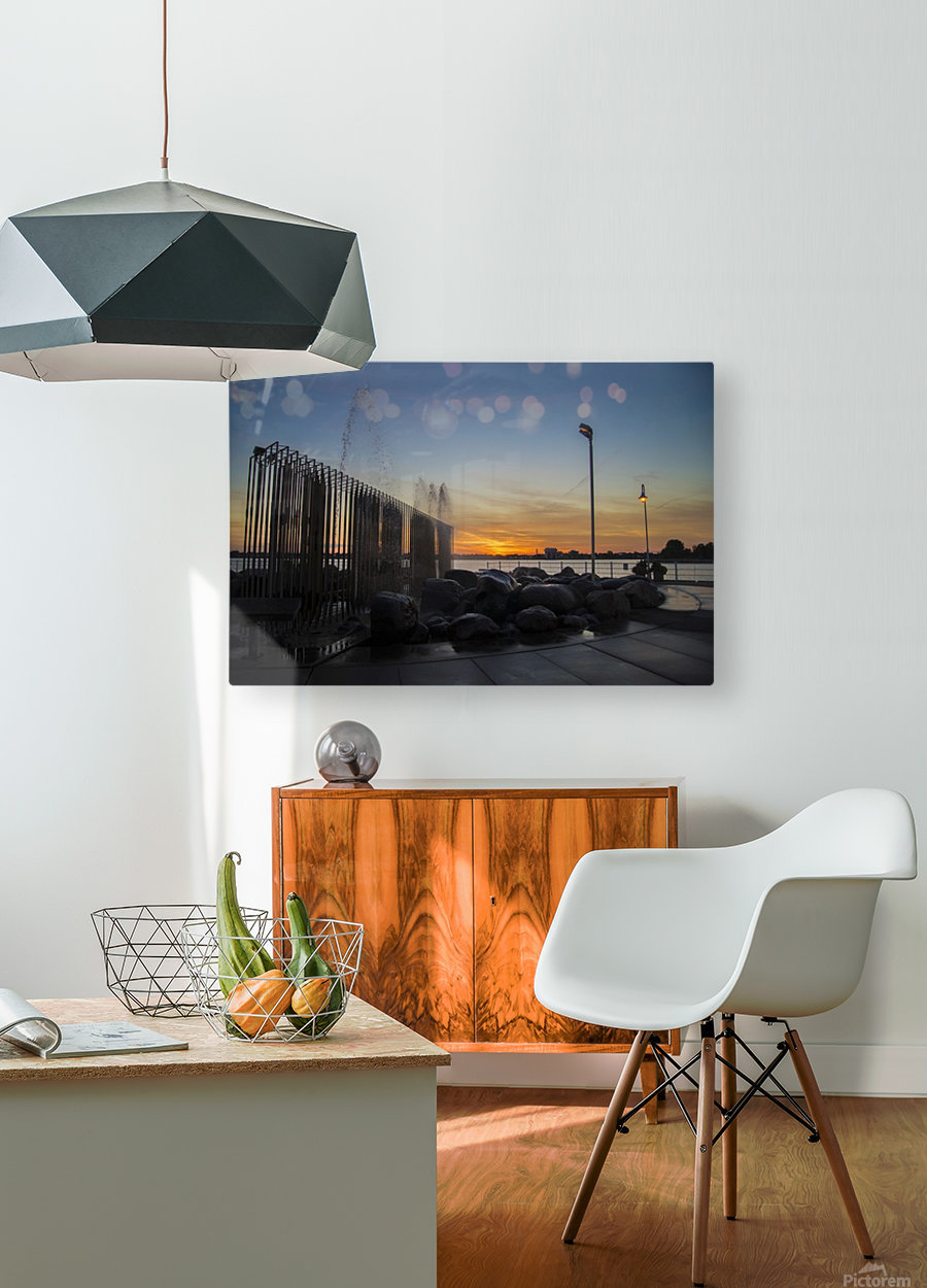 Fountain Sunset  HD Metal print with Floating Frame on Back