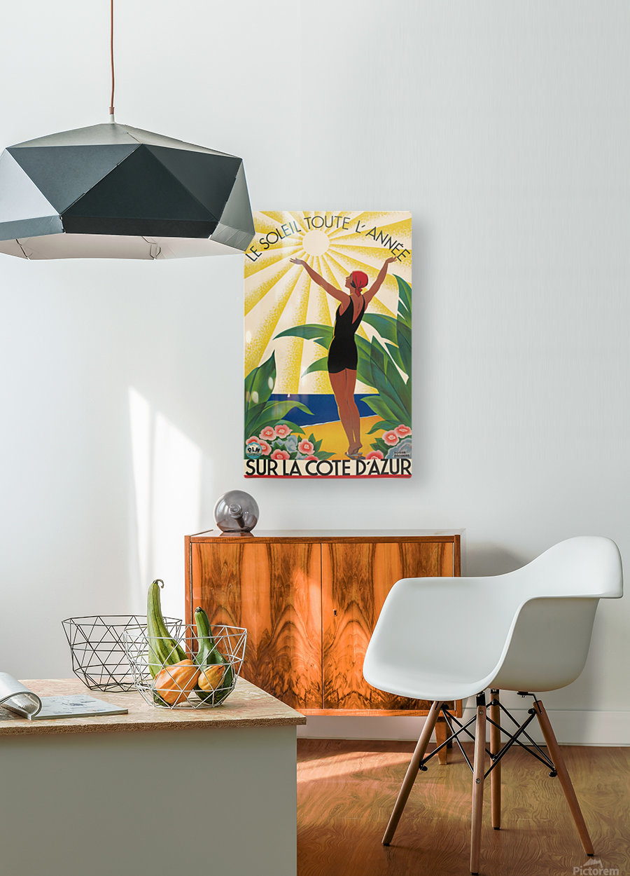 Sun All Year On the Cote dAzur poster in 1931  HD Metal print with Floating Frame on Back