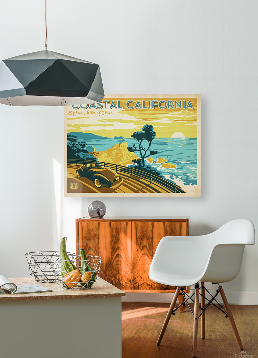 Coastal California travel poster  HD Metal print with Floating Frame on Back