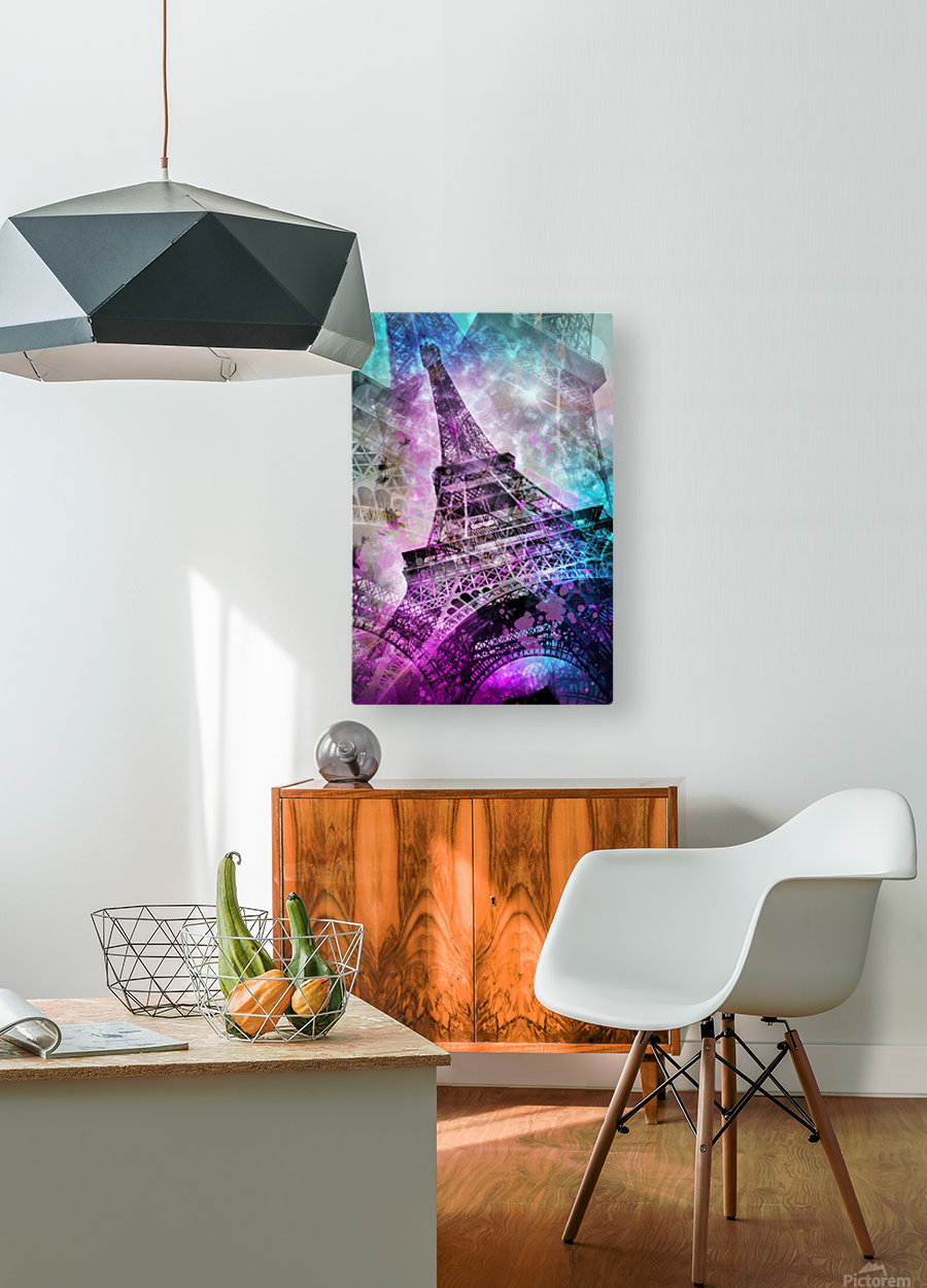 Pop Art Eiffel Tower  HD Metal print with Floating Frame on Back
