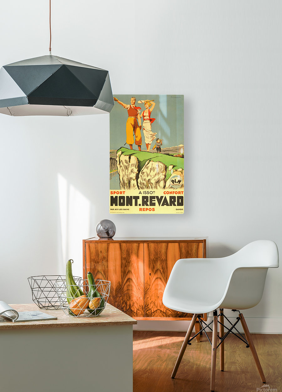 Original vintage poster from 1930 for Mont Revard in Savoie, France  HD Metal print with Floating Frame on Back