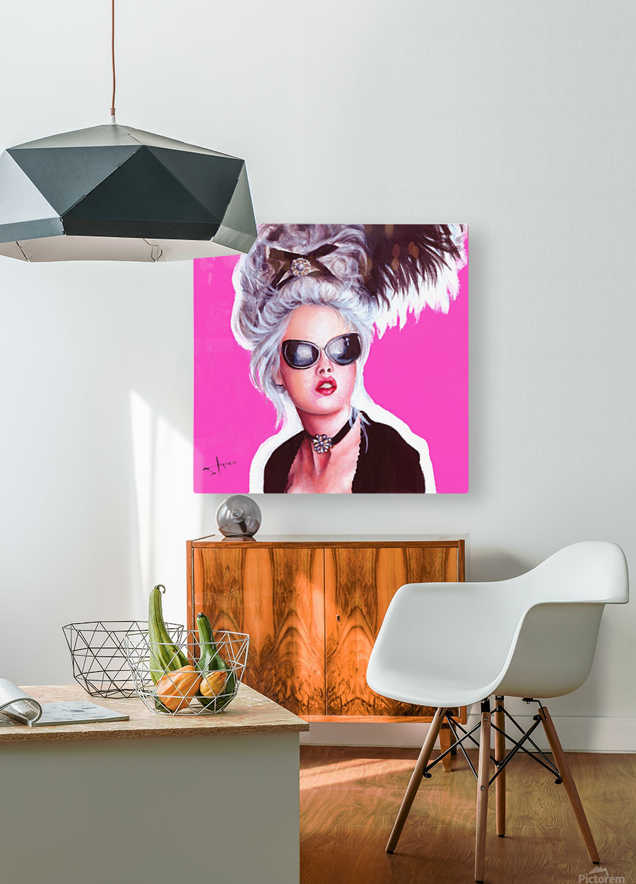 marie in black  HD Metal print with Floating Frame on Back