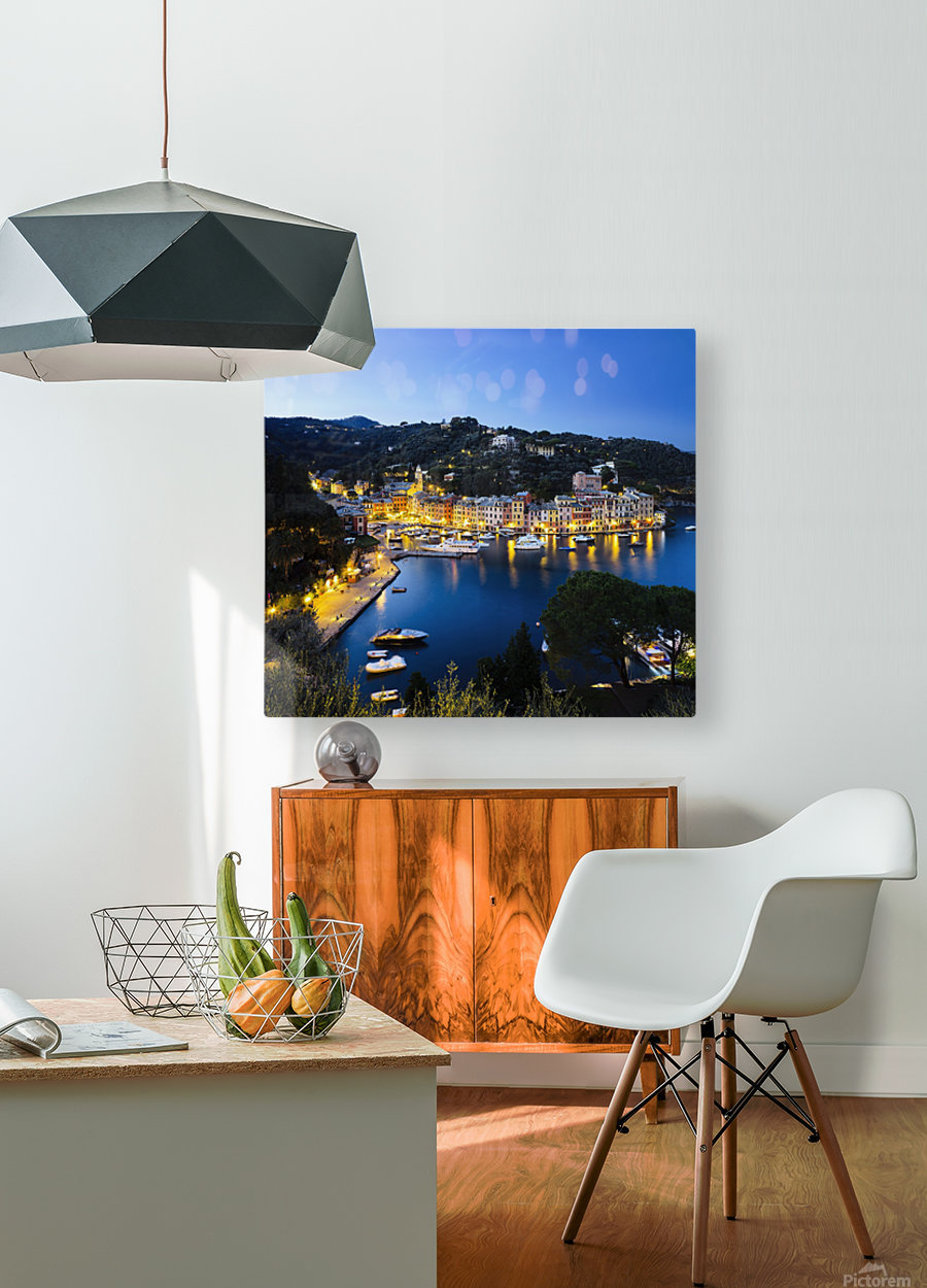 View of the harbour at dusk; Portofino, Liguria, Italy  HD Metal print with Floating Frame on Back