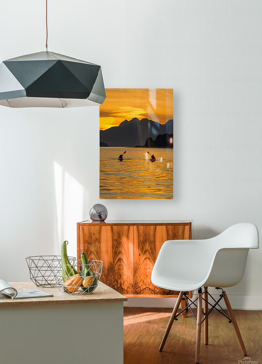 Sea Kayaking on a sublime evening in Lynn Canal near Eagle Beach State Recreation Area, Juneau. Alaska. Chilkat Mountains beyond in the distance.  HD Metal print with Floating Frame on Back