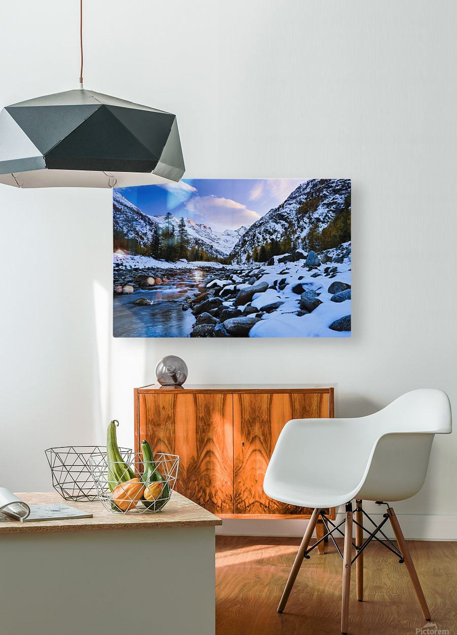 Valnontey torrent, Gran Paradiso National Park; Italy  HD Metal print with Floating Frame on Back