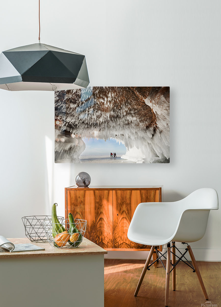 Ice caves on Lake Superior, near Bayfield; Michigan, United States of America  HD Metal print with Floating Frame on Back