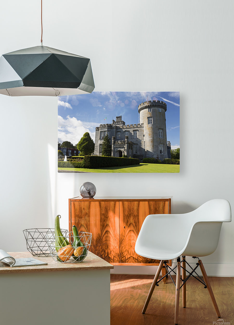 Stone castle with turret, manicured grass, gardens, fountain, blue sky and clouds; County Clare, Ireland  HD Metal print with Floating Frame on Back
