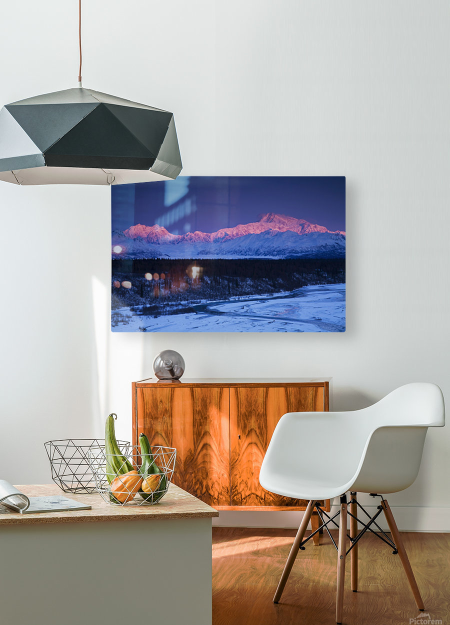 Alpenglow on Mt. McKinley and Mt. Hunter as seen from the Denali South Overlook along the Parks Highway, Denali State Park, Alaska, Winter  HD Metal print with Floating Frame on Back