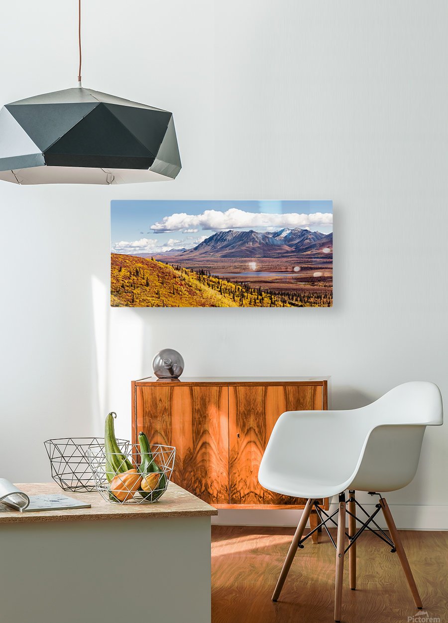 Scenic view of peak fall colors along Matanuska Valley, Southcentral Alaska  HD Metal print with Floating Frame on Back