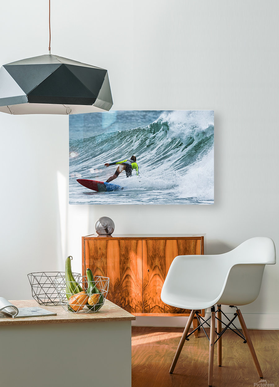 Surfer catching a wave; Tarifa, Cadiz, Andalusia, Spain  HD Metal print with Floating Frame on Back