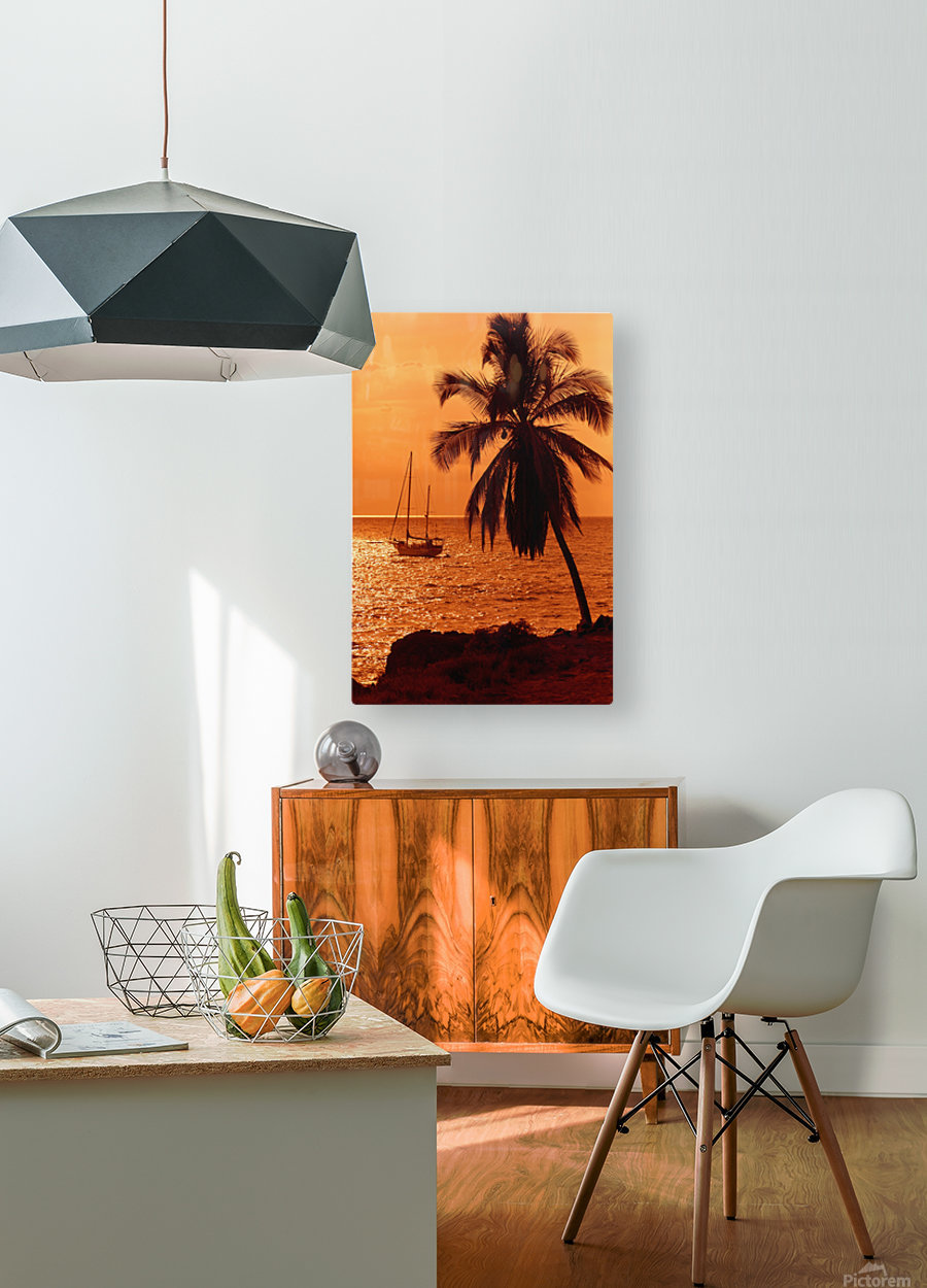 Sailboat and palm tree at sunset; Kihei, Maui, Hawaii, United States of America  HD Metal print with Floating Frame on Back