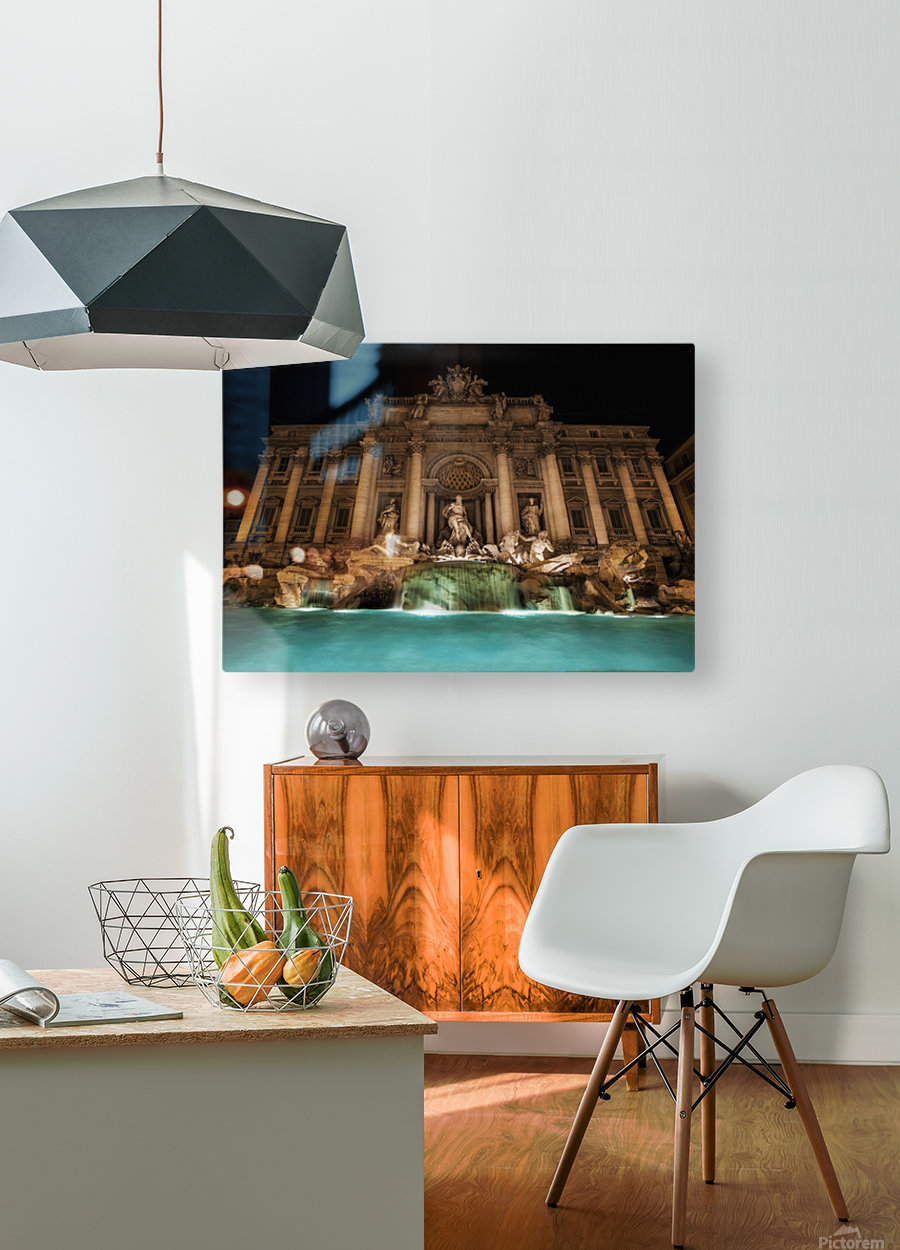 Trevi fountain illuminated at nighttime; Rome, Italy  HD Metal print with Floating Frame on Back