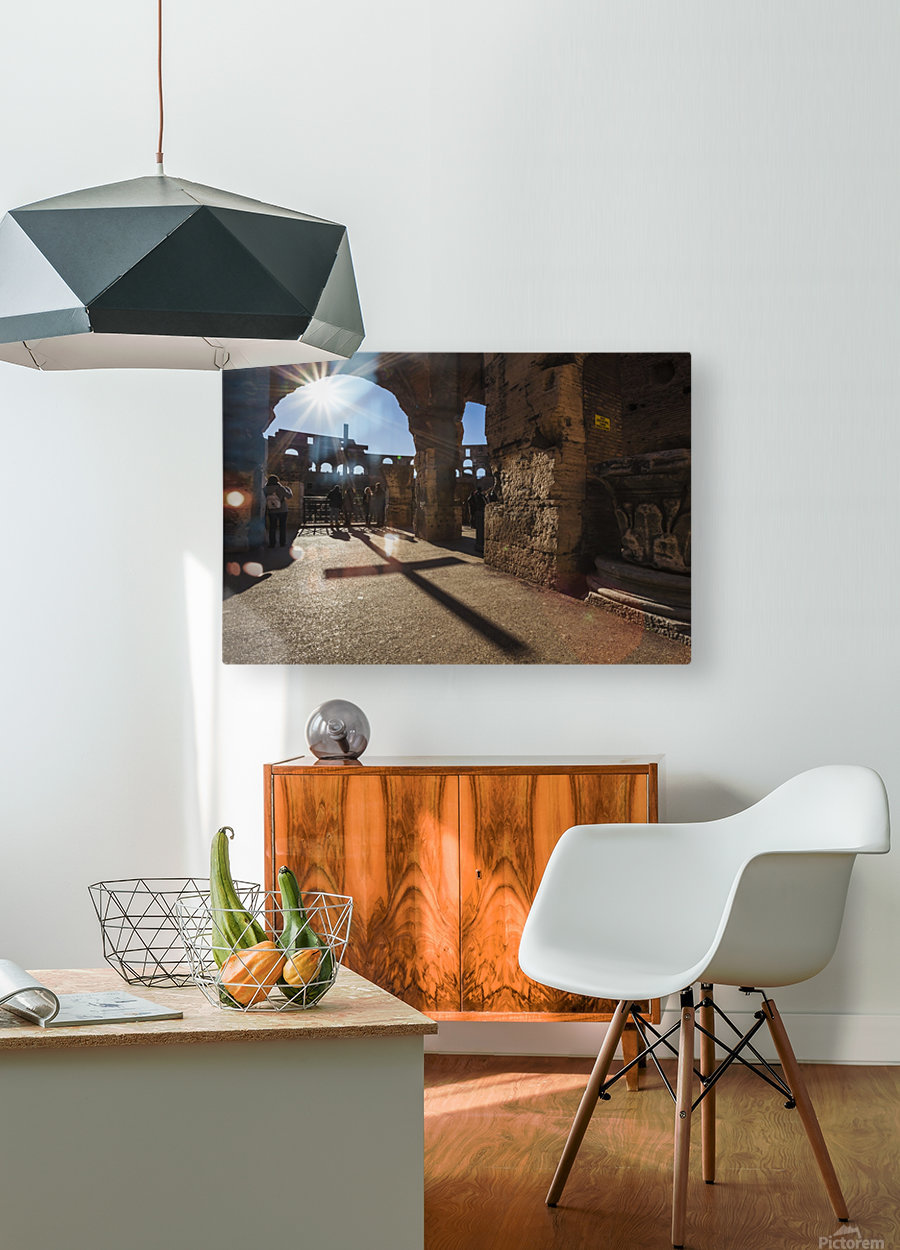 Sunburst through an archway at the Colosseum and a shadow of a cross; Rome, Italy  HD Metal print with Floating Frame on Back