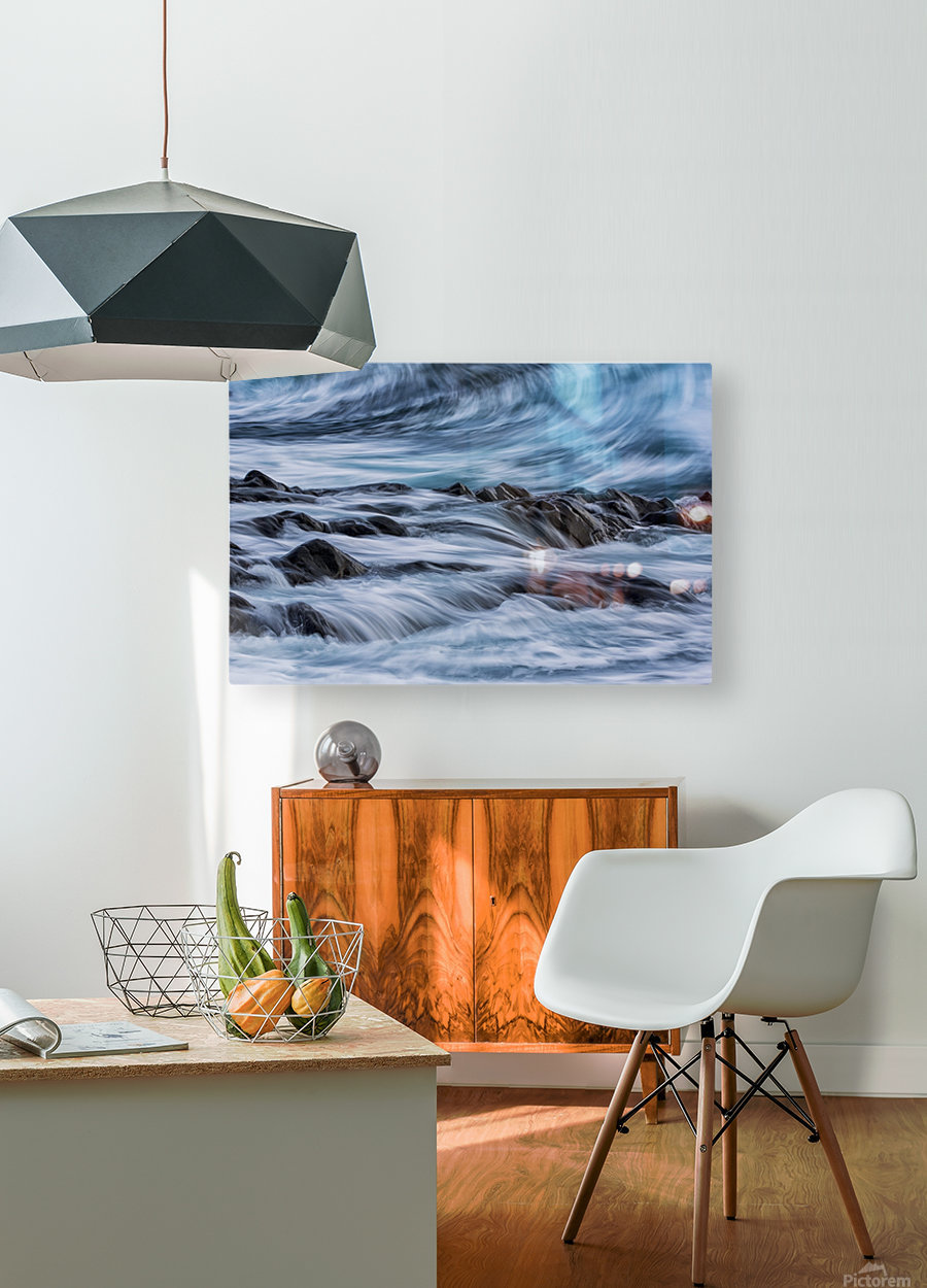 Long exposure of waves striking the coastline and flowing over rocks; Iceland  HD Metal print with Floating Frame on Back