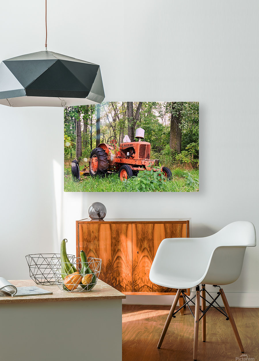 Vintage Tractor  HD Metal print with Floating Frame on Back