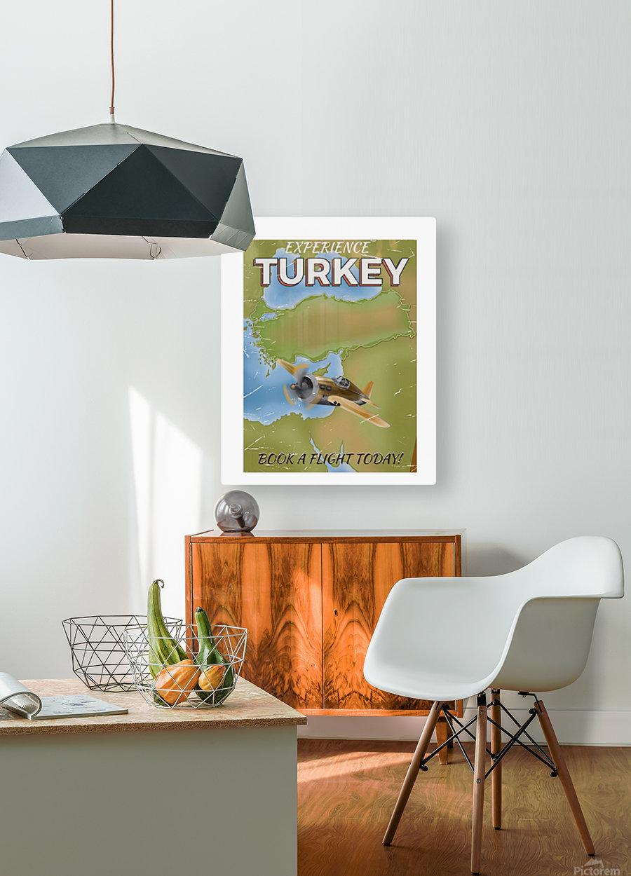 Turkey vintage travel poster  HD Metal print with Floating Frame on Back