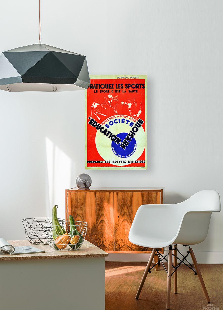 Original 1932 Art Deco Sport Poster  HD Metal print with Floating Frame on Back