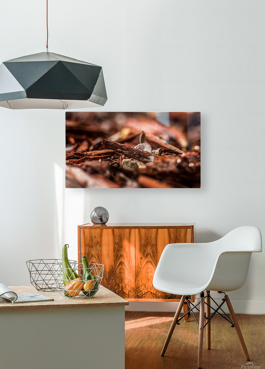 Wood Chips  HD Metal print with Floating Frame on Back