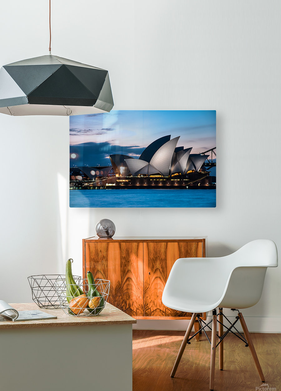 Glowing Opera House  HD Metal print with Floating Frame on Back