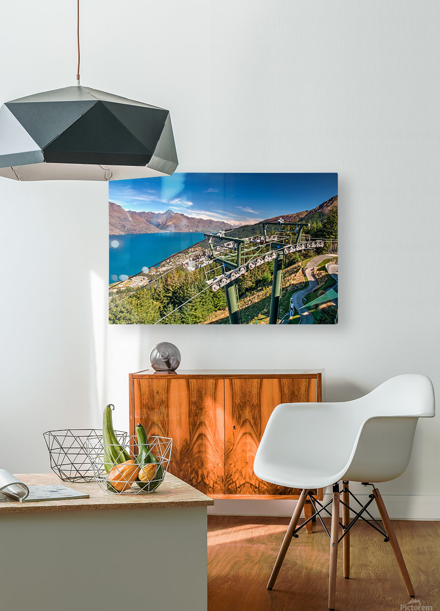 Towering over Lake Wakatipu  HD Metal print with Floating Frame on Back