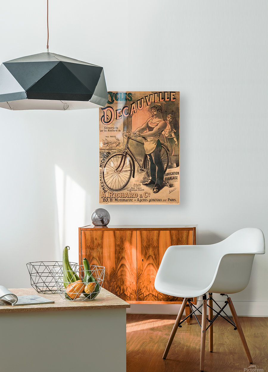 Cycles DeCauville vintage poster  HD Metal print with Floating Frame on Back